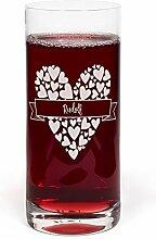 PrintPlanet® Glas mit Namen Rudolf graviert -
