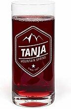 PrintPlanet® Glas mit Namen Tanja graviert -