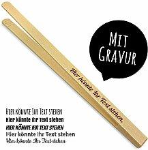 printplanet - Holz Grillzange mit Namen graviert -