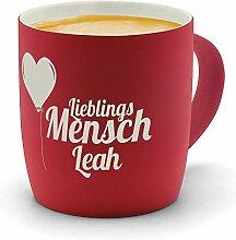 printplanet - Kaffeebecher mit Namen Leah graviert