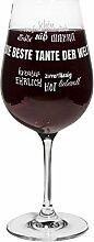 PrintPlanet® Rotweinglas mit Namen Die beste