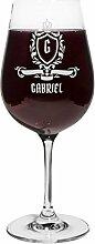PrintPlanet® Rotweinglas mit Namen Gabriel