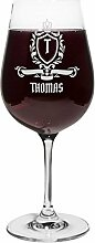 PrintPlanet® Rotweinglas mit Namen Thomas