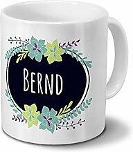 printplanet Tasse mit Namen Bernd - Motiv Flowers