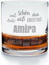 printplanet - Whiskyglas mit Namen Amira graviert.