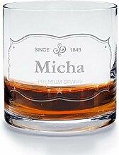 printplanet - Whiskyglas mit Namen Micha graviert.