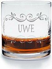 printplanet - Whiskyglas mit Namen Uwe graviert. -