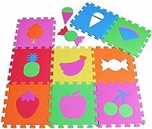 PRINZBERT Früchte Puzzlematte 9 Matten 28-tlg. Puzzleteppich kreativ Kinder Spielmatte Spielteppich Schaumstoffmatte rutschfest Lernteppich schadstofffrei Spielfläche Lerneffekt ABC Puzzle Moosgummi