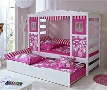 Prinzessin Bett mit Ausziehbett Weiß Rosa
