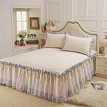 Prinzessin-Bett-Spitze-Bett-Rock-einzelne Baumwollblatt-Tagesdecken-Kissenbezug (3 Stücke) ( größe : 180*200cm )