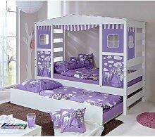 Prinzessin Kinderbett mit Ausziehbett Weiß Lila