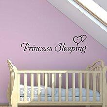 Prinzessin Schlafen Wandkunst Aufkleber Mädchen Schlafzimmer Kinder Spruch Transfer Wandgemälde Aufkleber - Türkis Grün Glanz, L