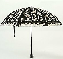 Prinzessin Yang Umbrella Lace Umbrella Sonnenschutz Anti-UV weiblichen Regenschirm Regenschirme verdreht und dreht Regen und Regen Regenschirm ( Farbe : Schwarz )