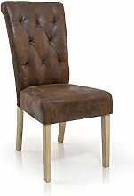 PRISCA Polstersessel Sessel Esszimmerstuhl Esstischstuhl Stuhl Polsterstuhl Eichefarbig/Microfaser Vintage