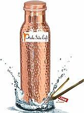 Prisha India Craft Wasserflasche, reines Kupfer, gesundheitsfördernd, Handarbeit, Geschenkidee, 600ml