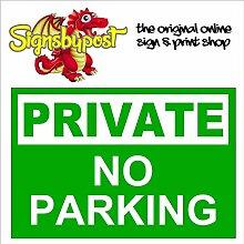 "Private No Parking wetterfest Schild aus Aluminium 9048Premium PVC oder Vinyl Aufkleber 30cm x 40cm approx 12"" x 16"" Dilite 3mm White on Green"