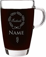 Privatglas Glastasse mit Initiale und Wunschnamen