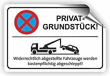 PRIVATGRUNDSTÜCK - Parken verboten Schild / PV-002 (45x30cm Aufkleber)