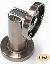 Probrico stabiler magnetischer Türstopper DSHH101 aus Metall zur Anbringung an der Wand oder auf dem Boden, 5 Stück, Finish:Antique Copper