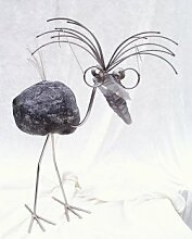 Professor Gartenfigur und Gartendeko als Steinvogel aus Edelstahl und Stein Größe L ca 70 cm hoch Design Tiedemann