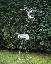 Professor XXXL ca 190cm Steinvogel als Gartendekoration, Gartenfigur, Gartendeko, Edelstahlvogel nicht rostend mit Naturstein (Kein Stein ist wie der Andere Abweichungen vom Foto sind Normal)