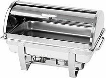 Profi Chafing Dish Set mit Roll-Top Deckel aus Edelstahl ,Wasserbehälter, Speisenbehälter, Deckel und 2 Brennpastenbehälter