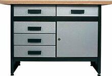 Profi Werkbank mit 5 kugelgelagerten Stahl-Schubladen (keine einfachen Küchenschubladen!) und 1 Tür, 40 mm stabile Arbeitsplatte