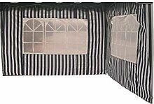 Profiline 2er Set Pavillon Seitenteile für 300 x 300 Pavillon, blau / weiß gestreift mit Fenster, Polyester, 452329
