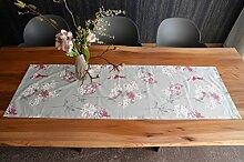 Proflax Tischdecke Fleury, Farbe grey/pink, Größe 50x160cm