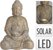 ProGarden Gartenfigur Buddha mit Solarleuchte