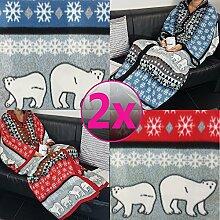 PROHEIM 2er Pack Kuschel-Decke Cozy Bears mit Ärmeln 150 x 170 cm Partnerset 1x in Rot und 1x in Blau TV-Decke/Ärmel-Decke aus Microfaser kuschelige und wärmende Wohn-Decke
