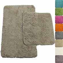 proheim Badematte 2-teiliges Set 50 x 80 und 45 x 50 cm rutschfester Badvorleger Premium Badteppich 1200 g/m² weich & kuschelig Hochflor Duschvorleger, Farbe:Beige