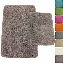 proheim Badematte 2-teiliges Set 50 x 80 und 45 x 50 cm rutschfester Badvorleger Premium Badteppich 1200 g/m² weich & kuschelig Hochflor Duschvorleger, Farbe:Taupe