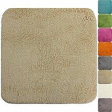 proheim Badematte 50 x 50 cm rutschfester WC-Vorleger Premium Badteppich 1200 g/m² weich & kuschelig Hochflor Duschvorleger, Farbe:Beige