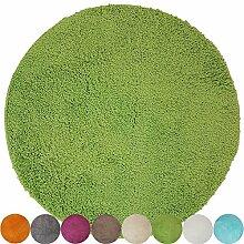 proheim Badematte Ø 60 cm rutschfester Badvorleger Premium Badteppich 1200 g/m² weich & kuschelig Hochflor Duschvorleger, Farbe:Grün