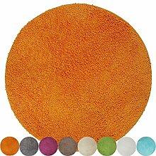 proheim Badematte Ø 60 cm rutschfester Badvorleger Premium Badteppich 1200 g/m² weich & kuschelig Hochflor Duschvorleger, Farbe:Orange