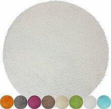 proheim Badematte Ø 60 cm rutschfester Badvorleger Premium Badteppich 1200 g/m² weich & kuschelig Hochflor Duschvorleger, Farbe:Weiß