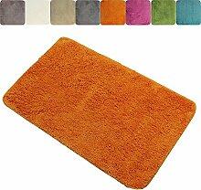 proheim Badematte 60 x 90 cm rutschfester Badvorleger Premium Badteppich 1200 g/m² weich & kuschelig Hochflor Duschvorleger, Farbe:Orange