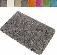 proheim Badematte 60 x 90 cm rutschfester Badvorleger Premium Badteppich 1200 g/m² weich & kuschelig Hochflor Duschvorleger, Farbe:Grau