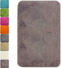 proheim Badematte in vielen Formen rutschfester Badvorleger Premium Badteppich 1200 g/m² weich & kuschelig Hochflor, Farbe:Taupe, Produkt:Badematte 70 x 120 cm