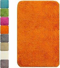 proheim Badematte in vielen Formen rutschfester Badvorleger Premium Badteppich 1200 g/m² weich & kuschelig Hochflor, Farbe:Orange, Produkt:Badematte 70 x 120 cm