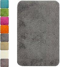 proheim Badematte in vielen Formen rutschfester Badvorleger Premium Badteppich 1200 g/m² weich & kuschelig Hochflor, Farbe:Grau, Produkt:Badematte 50 x 80 cm