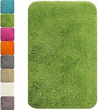proheim Badematte in vielen Formen rutschfester Badvorleger Premium Badteppich 1200 g/m² weich & kuschelig Hochflor, Farbe:Grün, Produkt:Badematte 60 x 90 cm