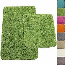 proheim Badematte in vielen Formen rutschfester Badvorleger Premium Badteppich 1200 g/m² weich & kuschelig Hochflor, Farbe:Grün, Produkt:2er Set 50x80cm + 45x50cm