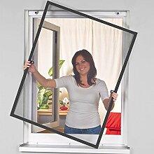 proheim Insektenschutz-Fenster Comfort 120 x 150 cm in Anthrazit Fliegengitter mit Alu-Rahmen sind kürzbar Fliegenschutz Spannrahmen ohne Bohren & Schrauben mit Dichtungsbürste