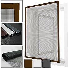 proheim Insektenschutz-Fenster Comfort Fliegengitter mit Alu-Rahmen sind kürzbar Fliegenschutz Spannrahmen ohne Bohren & Schrauben mit Dichtungsbürste, Farbe:Braun, Größe:80 x 100 cm
