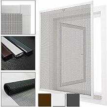 proheim Insektenschutz-Fenster Comfort Fliegengitter mit Alu-Rahmen sind kürzbar Fliegenschutz Spannrahmen ohne Bohren & Schrauben mit Dichtungsbürste, Farbe:Weiß, Größe:80 x 100 cm