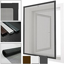 proheim Insektenschutz-Fenster Comfort Fliegengitter mit Alu-Rahmen sind kürzbar Fliegenschutz Spannrahmen ohne Bohren & Schrauben mit Dichtungsbürste, Farbe:Anthrazit, Größe:120 x 150 cm