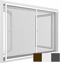 proheim Insektenschutz-Fenster Comfort XXL 150 x 220 cm Fliegengitter mit Alu-Rahmen für französische Fenster kürzbar ohne Bohren & Schrauben mit Dichtungsbürste, Farbe:Weiß
