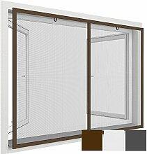 proheim Insektenschutz-Fenster Comfort XXL 150 x 220 cm Fliegengitter mit Alu-Rahmen für französische Fenster kürzbar ohne Bohren & Schrauben mit Dichtungsbürste, Farbe:Braun